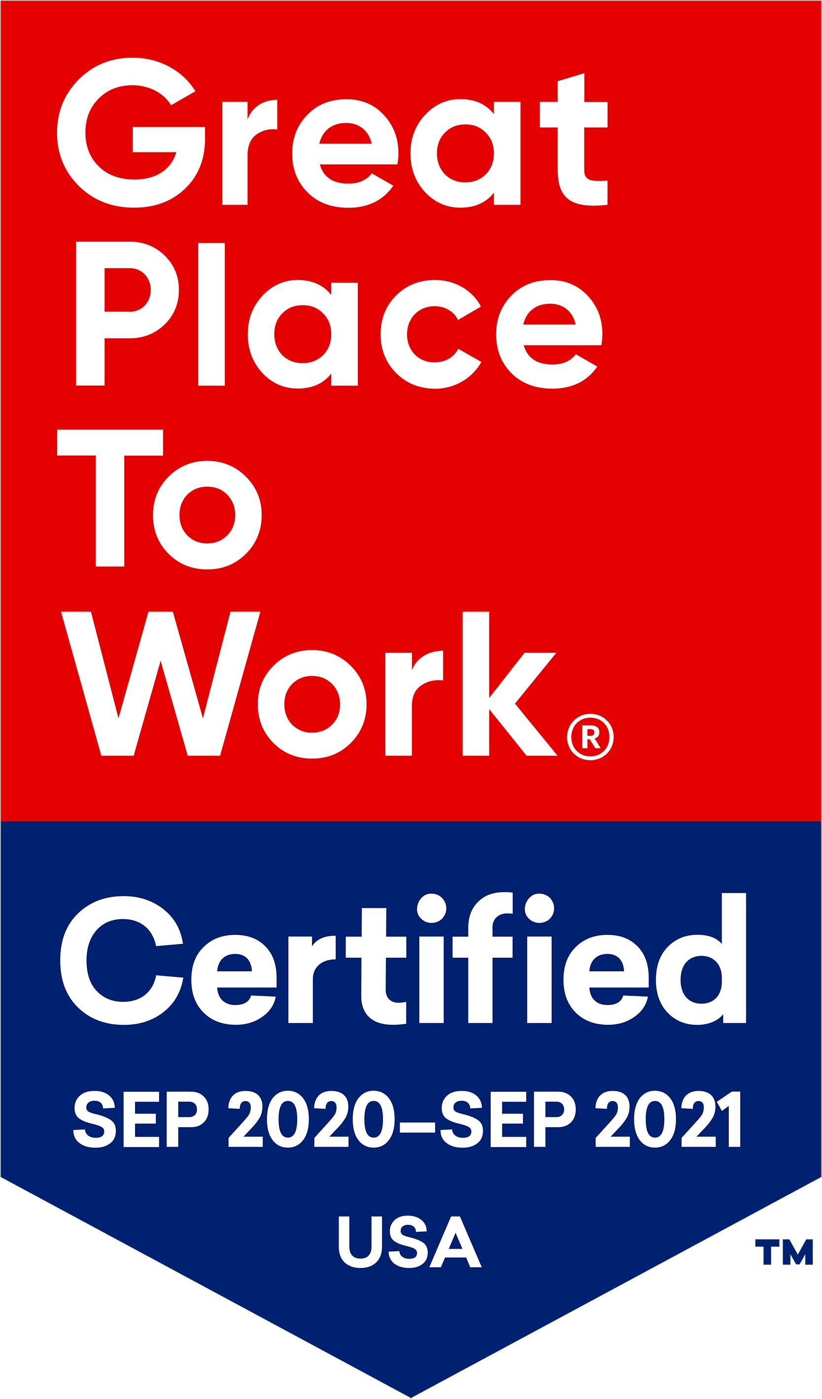 Great Place to Work. Certified September 2019 to September 202. USA.